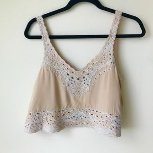 SALE! LF Champagne/ Beige Embroidered Tank Top